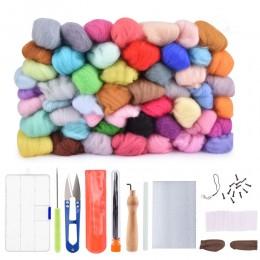 50 36 colores de lana de fieltro aguja de fieltro de tela Kit de Arte de arranque de hilo Roving DIY Fox hilado de costura molde