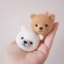 2019 Popular oso lindo de las muchachas de las mujeres miel Oso de nieve de lana de juguete de fieltro de lana de gatito DIY paq