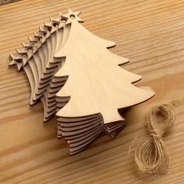 10 Uds. Placa colgante de madera árbol de Navidad colgantes decoración de fiesta adornos colgantes para suministros de árboles d