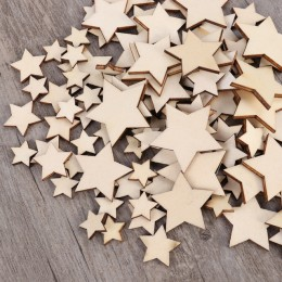 100 Uds. Estrellas de madera sin terminar discos de recorte de tamaño surtido para manualidades decoración DIY cumpleaños boda d