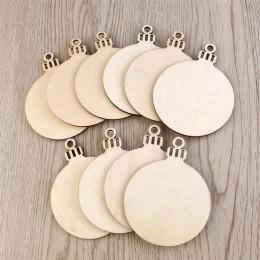 10 Uds. Forma redonda ornamento de madera Natural colgante árbol de Navidad manualidades de madera DIY con agujero decoraciones