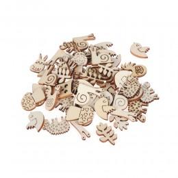 50 unids/pack Animal Caracol conejo de madera hecho a mano adorno de Scrapbook de corte láser adornos de madera hecho a mano pie