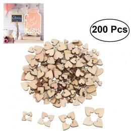 200 Uds. Rebanadas de discos de madera con corazón en blanco para manualidades adornos para decoración de la habitación del hoga