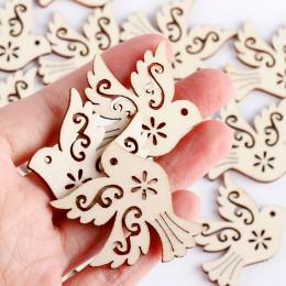 Piezas de madera de la paloma de la paz sin terminar de la manera Scrapbooking adorno de madera Natural artesanías hechas a mano