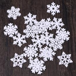 20 piezas de madera Festival Navidad copo de nieve en forma de artesanías tridimensionales para la decoración del hogar árbol de