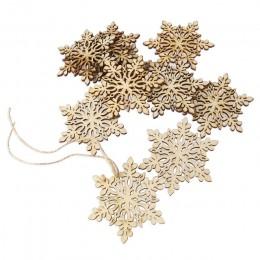 10 Uds. De Madera Hexagonal afilada copo de nieve decoración de adornos colgantes con cuerda (Color de madera)