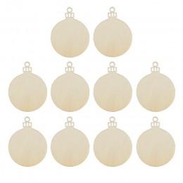 10 Uds. Adorno redondo de madera colgante árbol de Navidad decoraciones en blanco regalo etiqueta formas
