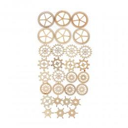 36 unids/pack redondas mixtas huecas de madera patrón de rueda de engranaje Scrapbooking vapor Punk decoración adornos
