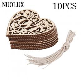 10 Uds Corazón de amor de madera adornos artesanía adorno colgante (Color de madera)
