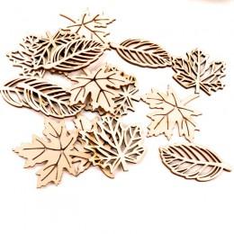 Natual hojas de madera patrón Scrapbooking pintura artesanal accesorio hecho a mano costura decoración del hogar DIY 50-52mm 10