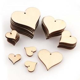 Tamaño mixto DIY perforado corazón de madera parche artesanías Scrapbooking suministros decoración de boda botones de Graffiti h