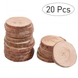 20 piezas 5-6CM círculo redondo madera natural sin acabado rodajas de troncos de corteza de árbol para accesorios de fotos de bo