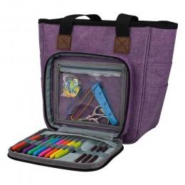 Bolsa de almacenamiento para lanas portátil con múltiples bolsillos agujas hilos bolsa de ganchillo