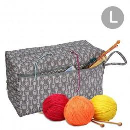 Multifuncional Durable bolsa de almacenamiento de lona Gran compartimento agujas de tejer hilos ganchillo gancho tejer bolsa de