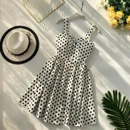 Boho 2019 estampado Floral Vintage Spaghetti Strap verano Mini Vestido corto fiesta Polka Dot Casual mujeres playa vacaciones Re