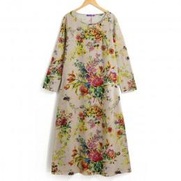 EaseHut 2019 nuevo Vintage mujeres Maxi vestido Floral más el tamaño de las mangas largas bolsillos cuello redondo algodón Lino