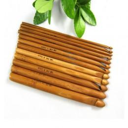 12 unids/set ganchos de ganchillo agujas de bambú tejer hilo manualidades DIY herramientas de tejer