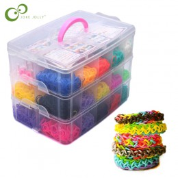4500 unids 15 colores DIY Arco Iris cinta de goma de color pulsera caja de regalo nuevas pequeñas máquinas de tejer de tres capa