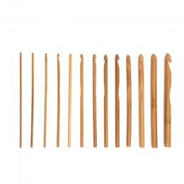 12 Uds agujas de bambú de ganchillo juego de agujas de tejer DIY manejar casa tejer hilo manualidades hogar tejer herramientas 3