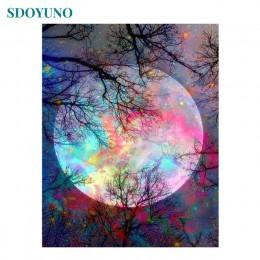 Pintura Digital acrílica SDOYUNO Cuadros Pintura por Numero pintar por numeros oleo por números paisaje Luna colorida 60X75cm im