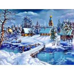 AZQSD pintura por números enmarcado 40x50cm de nieve de invierno imagen pintura al óleo por números en la lona decoración para e
