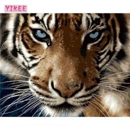 Pintura de lienzo diy por números, pintura al óleo por números animal, pintura al óleo de tigre números diy