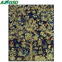 AZQSD pintura por números árbol de flores DIY pintura al óleo moderna pintura lienzo cuadro decoración del hogar pintado a mano