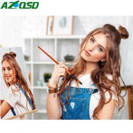 AZQSD pintura por números personalizado foto óleo dibujo lienzo imágenes juegos de retratos boda familia niños fotos DIY regalo