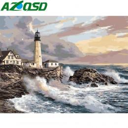 AZQSD pintura por números sin marco 40x50cm Bay faro imagen pintura al óleo por números en la lona pintura Gouache szyh160