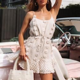 DICLOUD Sexy Spaghetti Strap Ruffles mujeres verano vestido Boho Beige sin espalda forrado fiesta playa vestido elegante Streetw