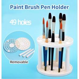 Pintura cepillos pluma titular 49 agujeros estante de pluma pantalla soporte base agarradera pincel para pintar con acuarelas so