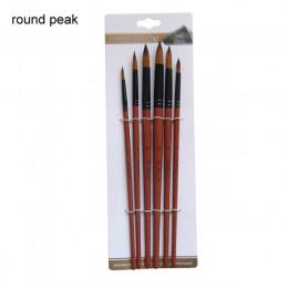 Juego de brochas para pintura de artista 6 uds. De pelo de nailon marrón acuarela acrílica por número pinceles para bolígrafo pi