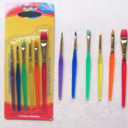 6 pinceles coloridos de pintura de Guache de acuarela para niños con diferentes formas punta redonda de Nylon pincel de pintura