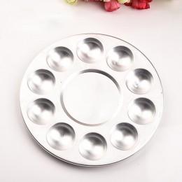 Paleta Circular de aluminio de 10 agujeros arte pintura bandeja de dibujo paletas de colores para pintura al óleo de acuarela pa