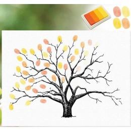 DIY en forma de árbol pintura de huellas digitales lona Baby Shower sala de estar regalos de boda rústica decoración del hogar f