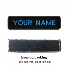 Parche de texto nombre personalizado bordado 10cm * 2,5 cm insignia hierro en o coser o respaldo de Velcro para ropa pantalones