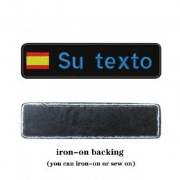 Bordado personalizado España bandera nombre o parche de Texto 10cm * 2,5 cm insignia hierro en o Velcro respaldo para ropa panta