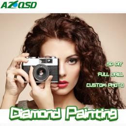 AZQSD pintura de diamante personalizado 5D foto cuadrado completo y redonda imagen de diamante de imitación mosaico de diamantes