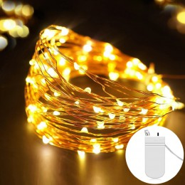 Hadas 2M 5M a batería LED de cobre Alambre de cadena de luces para guirnalda para Navidad, boda Festival Fiesta hogar Decoración