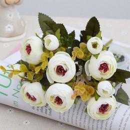 10 cabezas/1 paquete de rosas de seda para el té ramo de novia para la Navidad en casa boda Año Nuevo decoración plantas artific