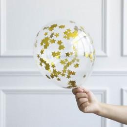 10 unids/lote globos transparentes confeti de papel de estrella dorada globos transparentes Feliz cumpleaños Baby Shower decorac