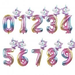 2 uds unicornio Arco Iris 32 pulgadas láminas con números para globos decoración de fiesta de cumpleaños para niños helio número