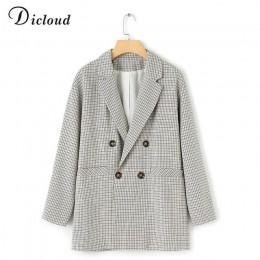 Dicloud elegante chaqueta escocesa vestido invierno otoño mujer de manga larga de gran tamaño chaqueta Oficina señora envoltura