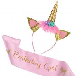Bebé ducha cumpleaños niña diadema de unicornio con faja de banda de seda chica 1st un año fiesta de cumpleaños decoración de fi