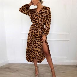 Vestido de leopardo 2019 mujeres Vintage Vestido largo de playa suelto de manga larga con cuello en V profundo línea a Sexy vest