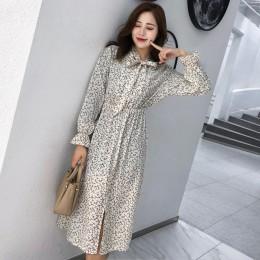 BGTEEVER elegante Stand Collar Polka Dot mujeres vestido Flare manga lateral Split vestido femenino 2019 otoño mujeres Vestidos