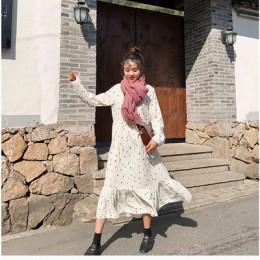 Talla grande 2019 primavera verano estilo europeo marca Cothing suelta de manga larga Vestidos de mujer estampado Dot ropa Vesti