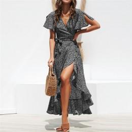 Vestido de abrigo largo 2019 verano Boho estilo estampado Floral Maxi Vestido de playa Sexy partido lateral elegante vestido ver