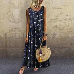 2019 vestidos de mujer talla grande bohemios cuello redondo estampado Floral vestido femenino verano Vintage sin mangas largo Ma