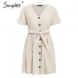 Simplee Vintage botón mujeres vestido camisa cuello en V manga corta algodón Lino corto vestidos de verano Casual coreano vestid